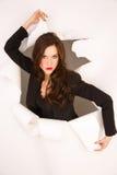 Break Through Business Woman in Black Jacket royalty free stock photos