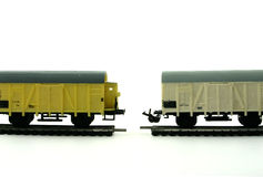 Break. Models of a freight train on a disconnected railway on the white background Stock Photography