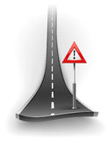 Break of asphalt road with warning sign Royalty Free Stock Photography