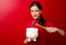 Woman ready to break Piggy Bank hammer. Attractive brunette woman holds a hammer to the piggy bank Royalty Free Stock Image