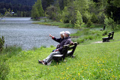 Break on a bench stock photo
