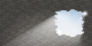 Break in the brick wall royalty free illustration