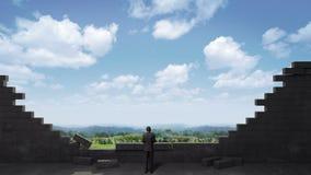 Break the brick wall. Businessman standing in front of a wall, cloud sky. Break the brick wall. Businessman standing in front of a wall royalty free illustration