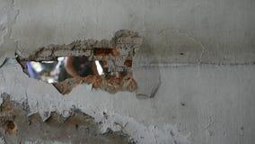 Break brick wall by drill, Timelapse stock video