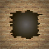 Break in the brick wall. Break into the brick wall of the room. Background or texture vector illustration