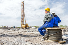 Break on building site, people are resting Stock Image