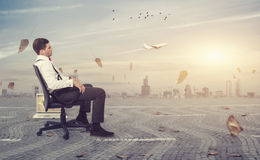 Break. Businessman taking a break from the chaos of the city Royalty Free Stock Photos