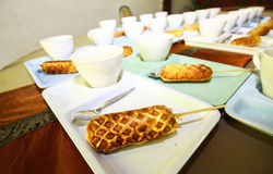 Break candy. Cup of coffee with bread cookies Royalty Free Stock Photos