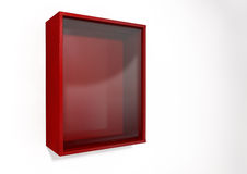 Break In Case Of Emergency Red Box. An empty red emergency box with an in case of emergency breakable glass on the front on an isolated background royalty free stock images