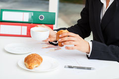 Break for coffee with croissant Royalty Free Stock Images