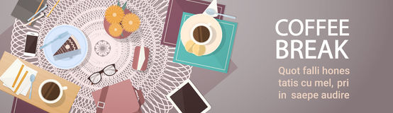 Break Coffee Cup Cake Table Top Angle View Banner. Flat Vector Illustration royalty free illustration