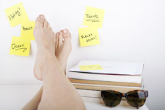 Break Concept / Dreaming About Holiday at Work Stock Images