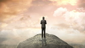 Break the concrete wall. Businessman standing in front of cliff. Break the concrete wall. Businessman standing stock illustration