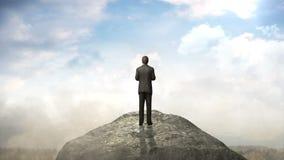 Break the concrete wall. Businessman standing in front of cliff.cloud sky. Break the concrete wall. Businessman standing royalty free illustration