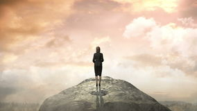 Break the concrete wall. Businesswoman standing in front of cliff. Break the concrete wall. Businesswoman standing vector illustration