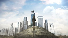 Break the concrete wall. Businesswoman standing in front of cliff. build buildings. Break the concrete wall. Businesswoman standing in front of cliff stock illustration
