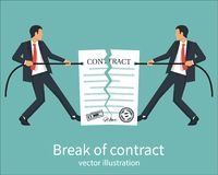 Break of a contract. Two businessmen pull rope, tearing contract. Vector illustration flat design. Isolated on background. Concept of disagreement. Business Royalty Free Stock Images
