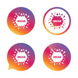 Break it. Cracked hole icon. Smashed wall. Break it sign. Cracked hole icon. Smashed wall symbol. Gradient buttons with flat icon. Speech bubble sign. Vector Stock Photos