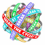Break the Cycle Words Around Rings Endless Repeating Pattern. Break the Cycle words on rings in an endless patter to illustrate ending or stoping a repetitive Royalty Free Stock Images