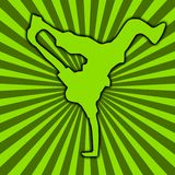 Break Dance [03]. Street Dance on a Green SunBurst BackGround stock illustration