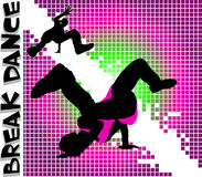 Break Dance. Guys dancing a break on different color background Stock Image