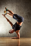 Break dance. Young strong man break dance royalty free stock images