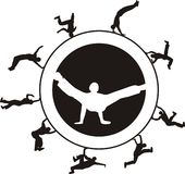 Break dance. Several dancers in a circle - illustrations Stock Photos
