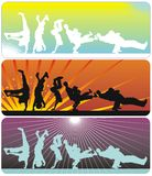 Break Dance. Guys dancing a break on different color background Stock Photo