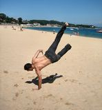 Break dance on the beach Royalty Free Stock Photography