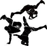 Break-dance della siluetta di breakdance Immagini Stock Libere da Diritti