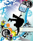 Break Dance Event Flyer. Extreme Break Dancing colorful Musical Event Background for Flyers Stock Photo