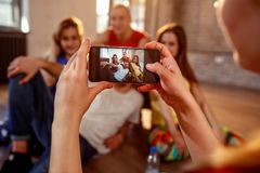 Break dance, freestyle, hip-hop and street dance concept- taking. Picture of smiling modern dancer friends stock images