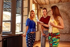 Break dance, freestyle, hip-hop and street dance concept- together planning choreography of dancers royalty free stock photo
