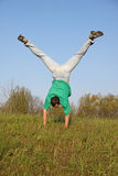 Break dance on grass Royalty Free Stock Photos