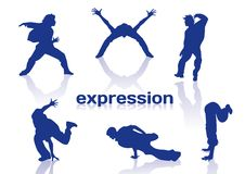 Break dance silhouettes Royalty Free Stock Images