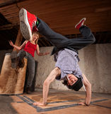 Break Dancer Does Upside Down Kick Royalty Free Stock Photography