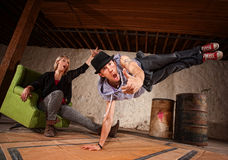Break Dancer in Mid Air Stock Photo