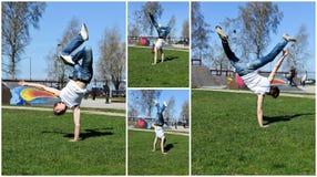 Break-dancer showing his skills. Stock Images
