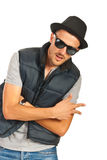 Break dancer. With sunglasses and hat gesturing isolated on white background Stock Photo