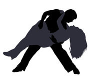 Break dancers silhouettes Stock Photography