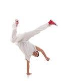 Break dancing. Breakdancer dances on a white background Stock Photo