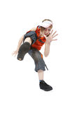 Break Dancing Girl. Young woman break dancing isolated against a white background Royalty Free Stock Photos