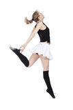Break Dancing Girl. Young woman break dancing isolated against a white background Stock Image