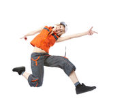 Break Dancing Girl. Young woman break dancing isolated against a white background Stock Photography