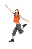Break Dancing Girl. Young woman break dancing isolated against a white background Stock Images