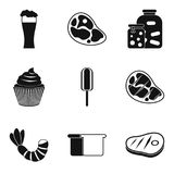 Break a diet icons set, simple style. Break a diet icons set. Simple set of 9 break a diet vector icons for web isolated on white background Royalty Free Stock Image