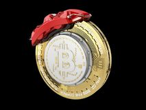 Break disc with silver bitcoin, isolated black 3d Illustration Stock Photos