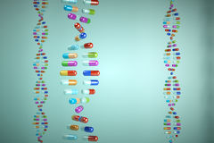 Break the DNA chain, made of pills Royalty Free Stock Image
