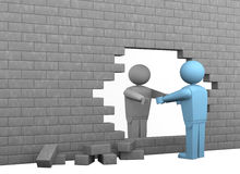 Break down barriers. One broken wall with two cartoon characters, one helping the other to become free (3d render stock illustration