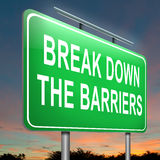 Break down the barriers. Illustration depicting an illuminated roadsign with a break down the barriers concept. Dusk sky background Stock Photography